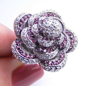 ROSE Sterling SILVER Simulated Ruby Ring sz 6.5